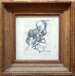 Sketch of Benito Mussolini - Ink and Watercolor Drawing by M. Maccari - 1920