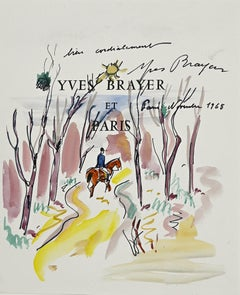 Chevalier dans le Bois - Original Ink and Watercolor by Yves Brayer - 1968