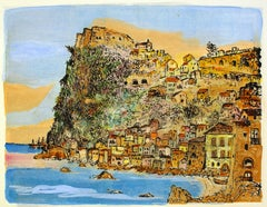 Scilla, Landscape - Country and Coast - Etching and Watercolor by G. Omiccioli