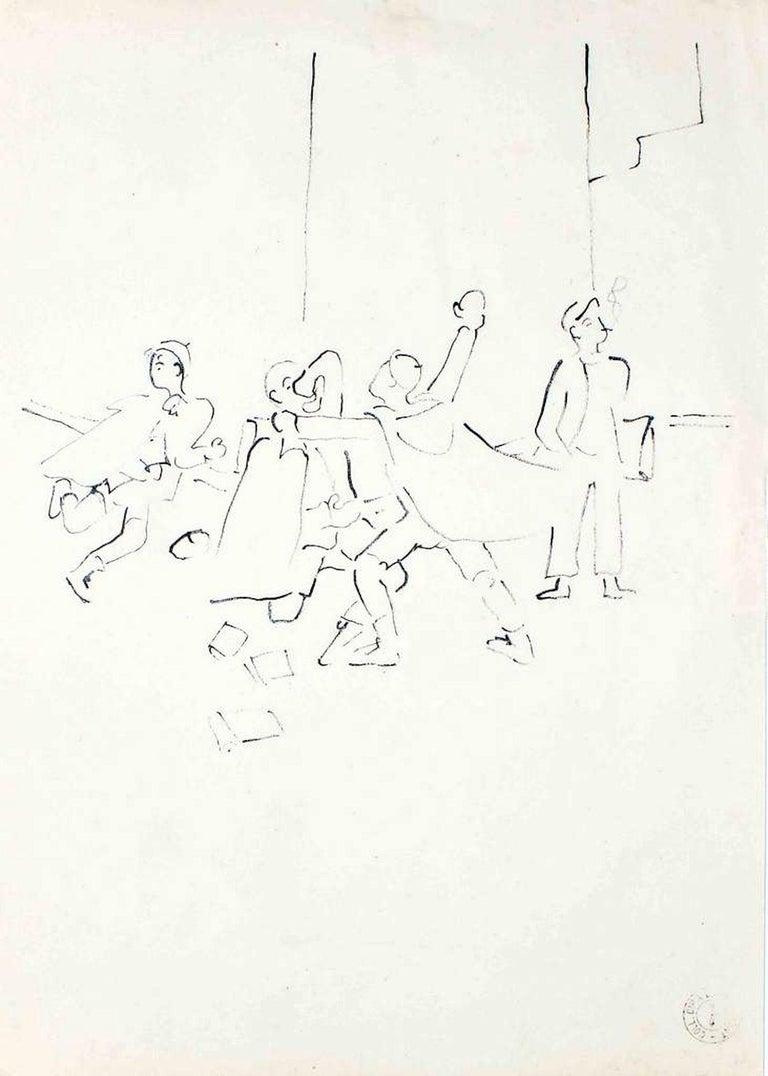 """Jean Cocteau Figurative Art - La Bataille des Boules de Neige - From """"Les Enfants"""" Terribles"""" - 1935"""