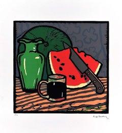 Still Life with Watermelon - Woodcut Print by L. Servolini - 1987