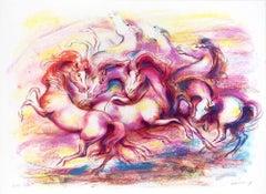 Horses  - Original Lithograph by Jovan Vulic - 1988