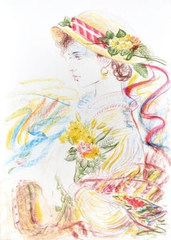 Romantic Woman  - Original Lithograph by Jovan Vulic - 1988
