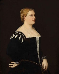Portrait of Young Woman - Original Oil on Canvas by Bernardino Licinio - 1530/50