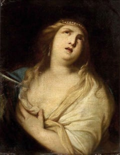 The Suicide of Lucrezia - Original Oil Paint by Giacomo Farelli - Late 1600