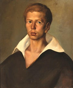 Portrait of Young Man - Original Oil on Canvas by R. Tommasi Ferroni - 1958