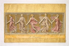 The Dancers - Colored Etching by L. Cunego After  B. Nocchi - 1821