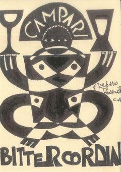 Bitter Cordial - Original Ink Drawing After F. Depero