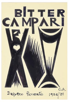 Bitter Campari - Original Ink Drawing After F. Depero