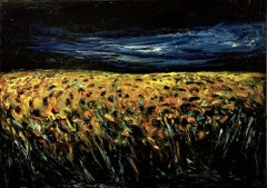 Sunflower Field - Original Oil on Canvas by Claudio Palmieri - 1985