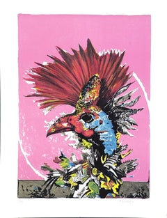 The Rooster - Original Lithograph by Pietro Carabellese - 1970s