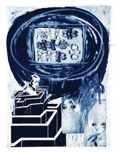 Woman in Labyrinth - Original Lithograph by Nani Tedeschi - 1971