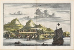 View Of Tongling - Original Hand Watercolored Etching by A. Leide