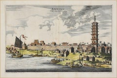 View Of Anning - Original Hand Watercolored Etching by A. Leide