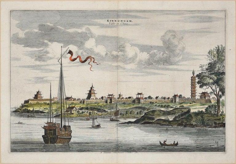 Pieter Van Der Aa Landscape Print - View Of Kinnungam - Original Hand Watercolored Etching by A. Leide