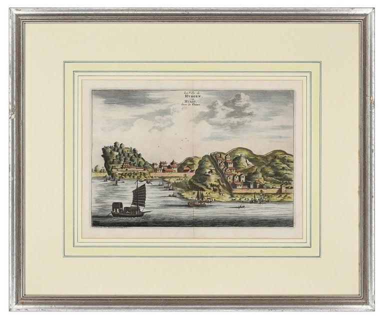 View Of Hukoen - Original Hand Watercolored Etching by A. Leide - Print by Pieter Van Der Aa