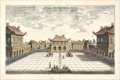 The Chinese Imperial Palace - Original Hand Watercolored Etching by A. Leide