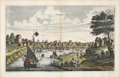 View Of Kuching - Original Hand Watercolored Etching by A. Leide