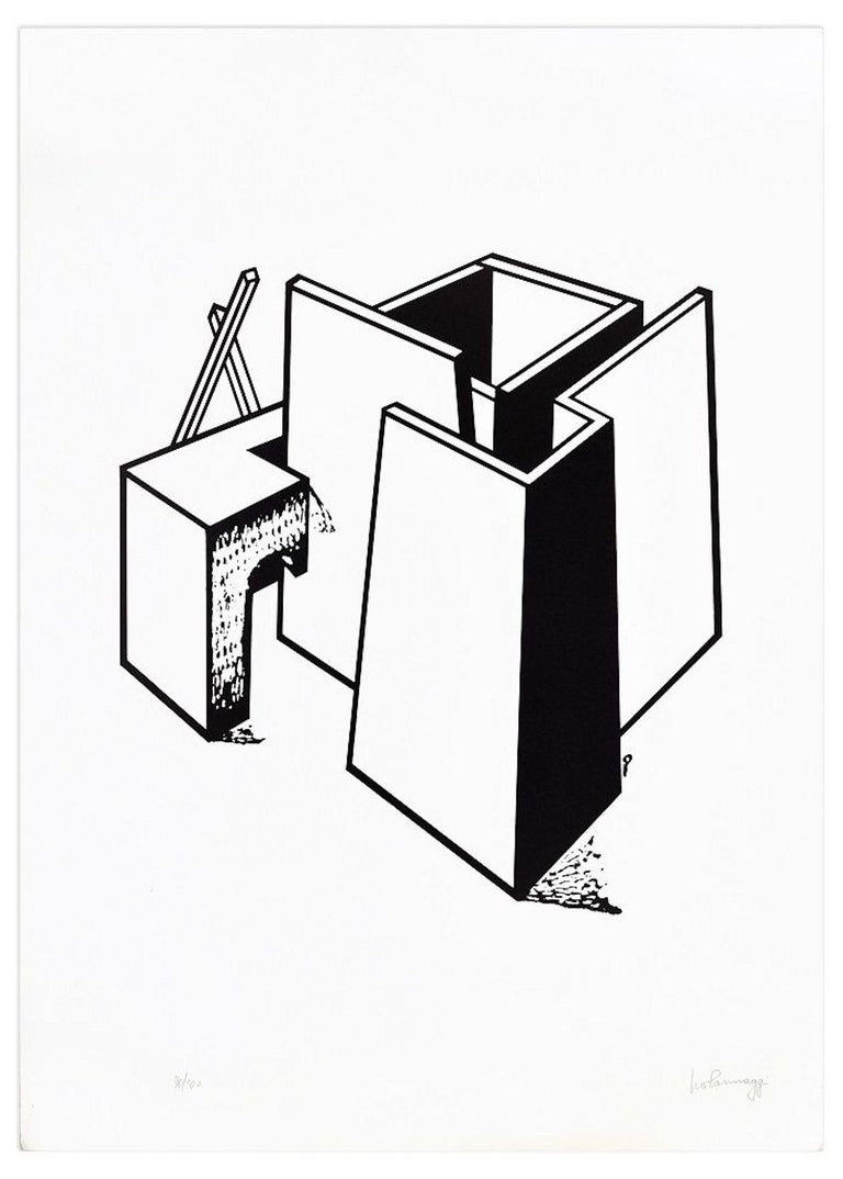 Architectural Construction is a special and rare lithograph made by the artist Ivo Pannaggi, realized in a circulation of 100 copies around 1975 and taken from an original drawing of the 1920s.  The state of preservation is very good, except for