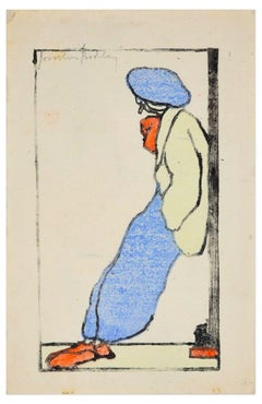 Figure with Blue Beanie - Original Woodcut by J. Bodley - Early 1900