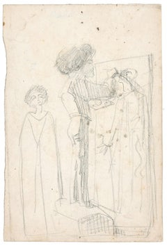 Une Chambre - Original Pencil Drawing by Unknown French Artist Late 1800