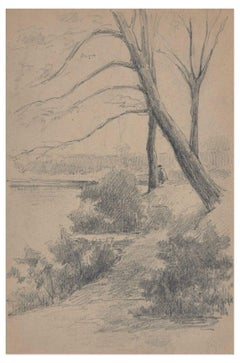 Landscapes with Trees and River - Pencil Drawing by Unknown French Master - 1919