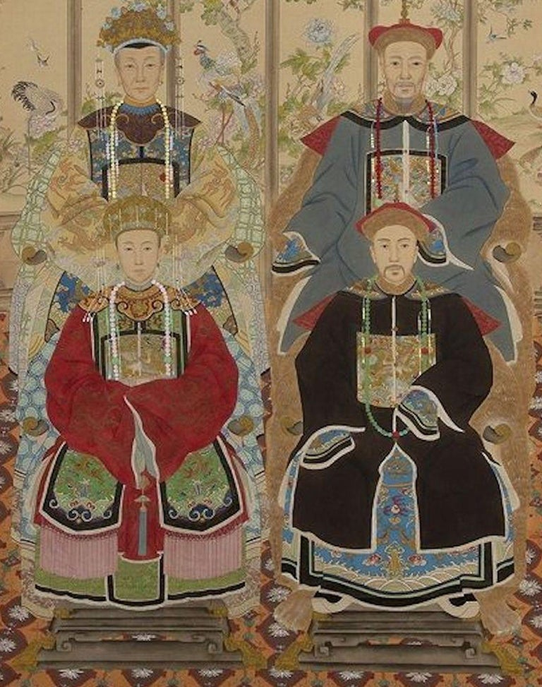Painted Roll is an original artwork realized in China in the XX Century.   Ink and color on paper.  Silk frame is included.  Provenance: Italian Private Collection.   Very refined and elegant artwork representing several figures of ancestors. The