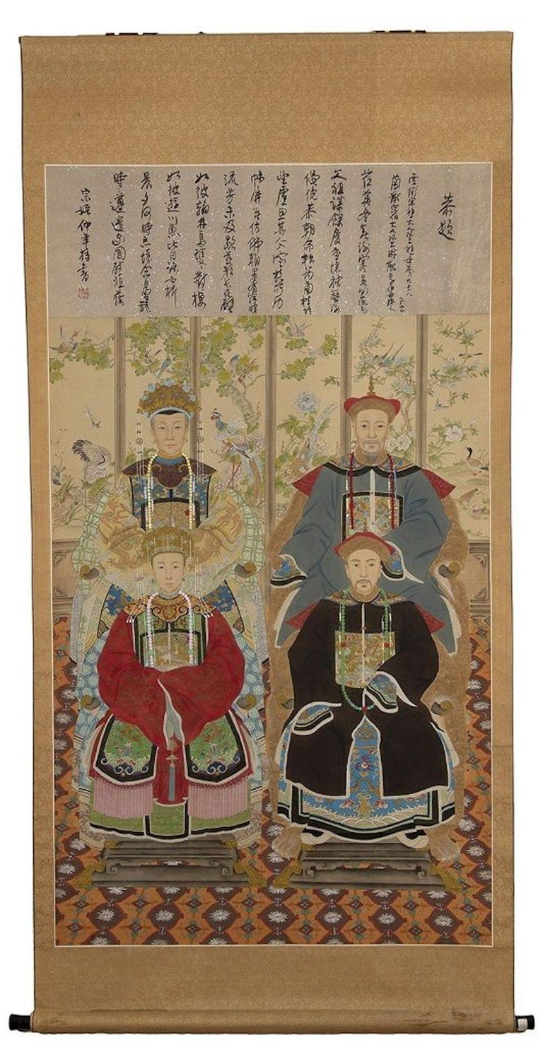 Ancestors - Original Painted Roll - China Early 20th Century For Sale 1