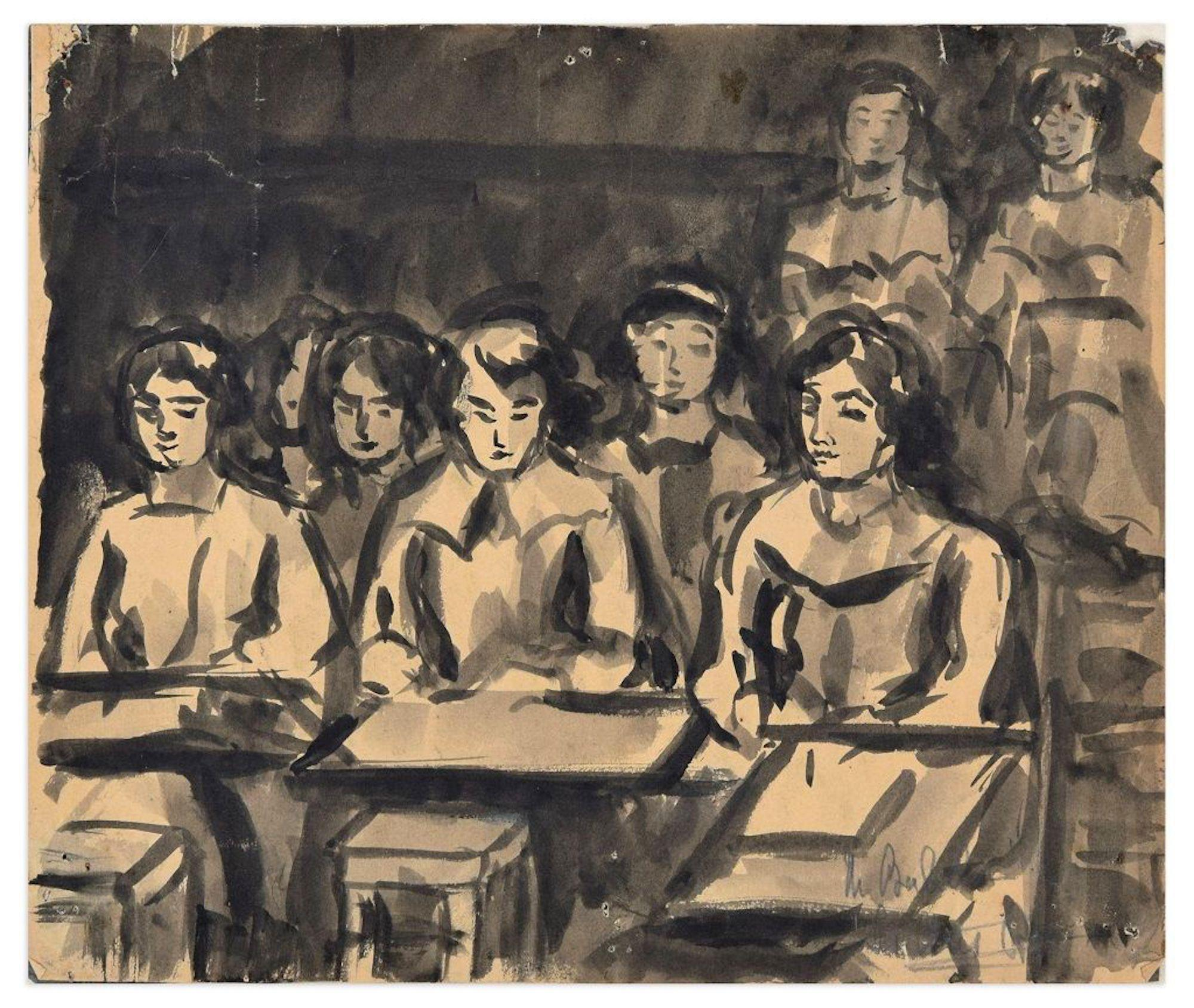 Schoolgirls - Ink and Watercolor Drawing - 1940 ca.