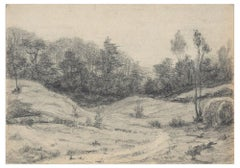 At the Forest's  - Pencil and Charcoal Drawing by Emile-Louis Minet - Early 1900