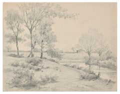 Countryside with Trees and River - Charcoal by E.-L. Minet - Early 1900