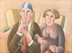 Primo Flauto e Signora - Original Oil on Wooden Panel by C. Benghi -