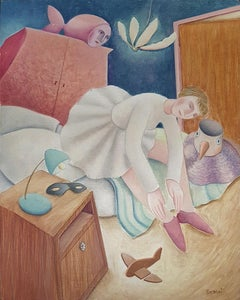 Ballerina - Original Oil on Wooden Panel by C. Benghi - 2000s