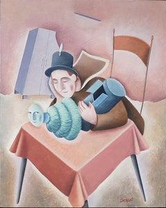 La Fuga di Un Sogno - Original Oil on Wooden Panel by C. Benghi - 2000s