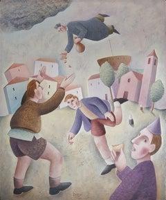 Il Lancio delle Raviole - Original Oil on Wooden Panel by C. Benghi - 2000s