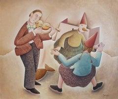 Un Ballo magico - Original Oil on Wooden Panel by C. Benghi -