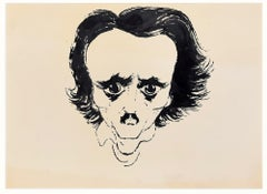 Caricature (Portrait of E.A. Poe) - China Ink Drawing by A. Hallman - 1950s
