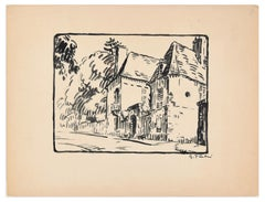 The Huts - Original China Ink Drawing by G. Pastre - 1930s
