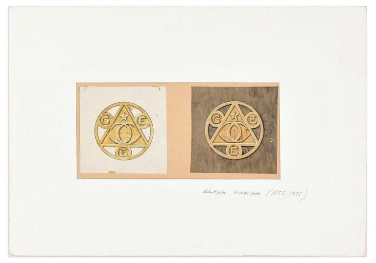 Adolphe Giraldon Figurative Art - Symbols - Original China Ink and Watercolor by A. Giraldon - Early 20th Century