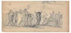 The Forum - Original Charcoal Drawing by French Artist End of 19th Century