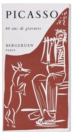 Picasso. 60 Ans de Gravures - Vintage Catalogue with Original Linocut - 1964