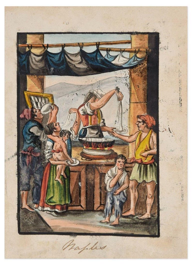 Unknown Figurative Art - Food Seller - Original Ink and Watercolor by Anonymous Neapolitan Master - 1800