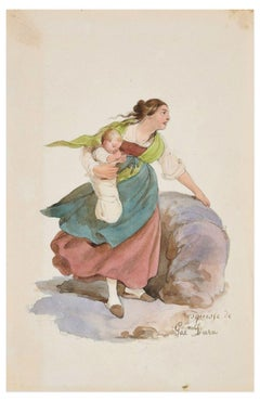 Woman - Original Ink Drawing and Watercolor by G. Dura - 19th Century