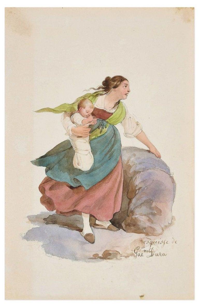 Gaetano Dura Figurative Art - Woman - Original Ink Drawing and Watercolor by G. Dura - 19th Century