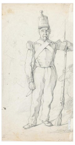 Soldier - Original Pencil Drawing by an Unknown French Artist - 19th Century