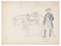 French Soldier- Original Drawing by an Unknown French Artist - Late 18th Century