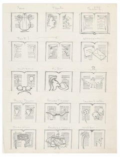 Literature - Pencil Drawing on Paper by Unknown French Artist - Early 1900