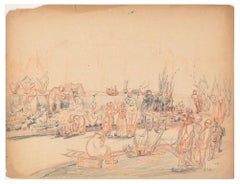 People in t - Original Pencil Drawing by an Unknown French Artist - 1881