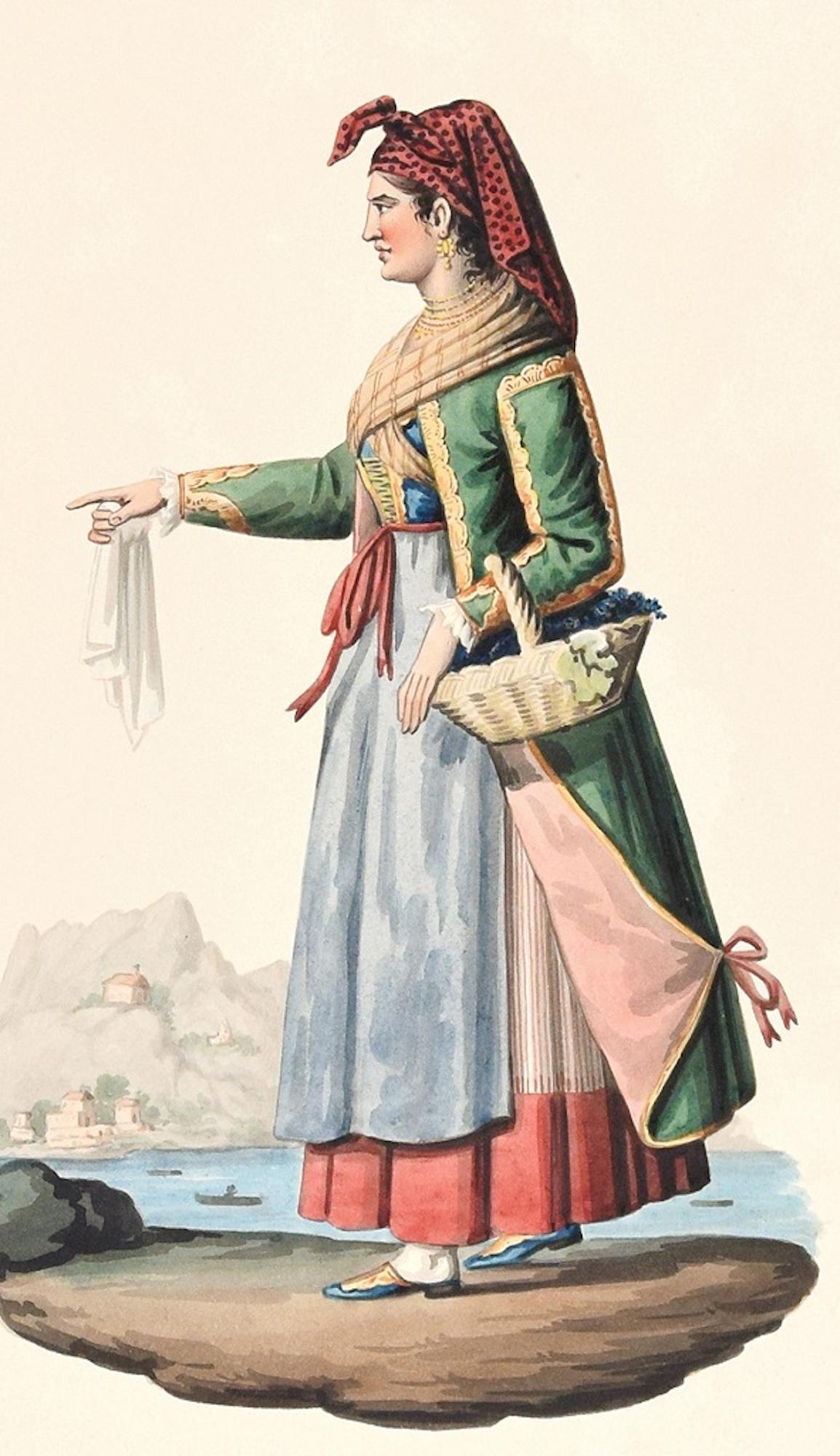Procida  - Original Ink Watercolor by M. De Vito - Early 1800