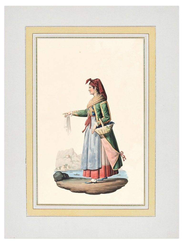 Procida  - Original Ink Watercolor by M. De Vito - Early 1800 - Art by Michela De Vito